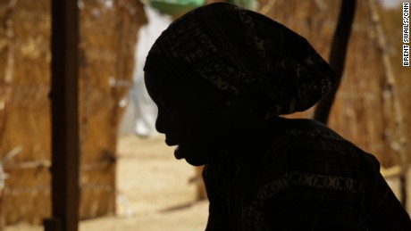 "Fati was kidnapped in Nigeria in 2014 and taken to a Boko Haram camp in the Sambisa Forest. ""All of the girls were so frightened. All of them, they always cried and the men raped us,"" Fati said. ""There is no food, nothing. The children, you can count their ribs because of the hunger."" Her identity has been hidden and her name changed for her protection."