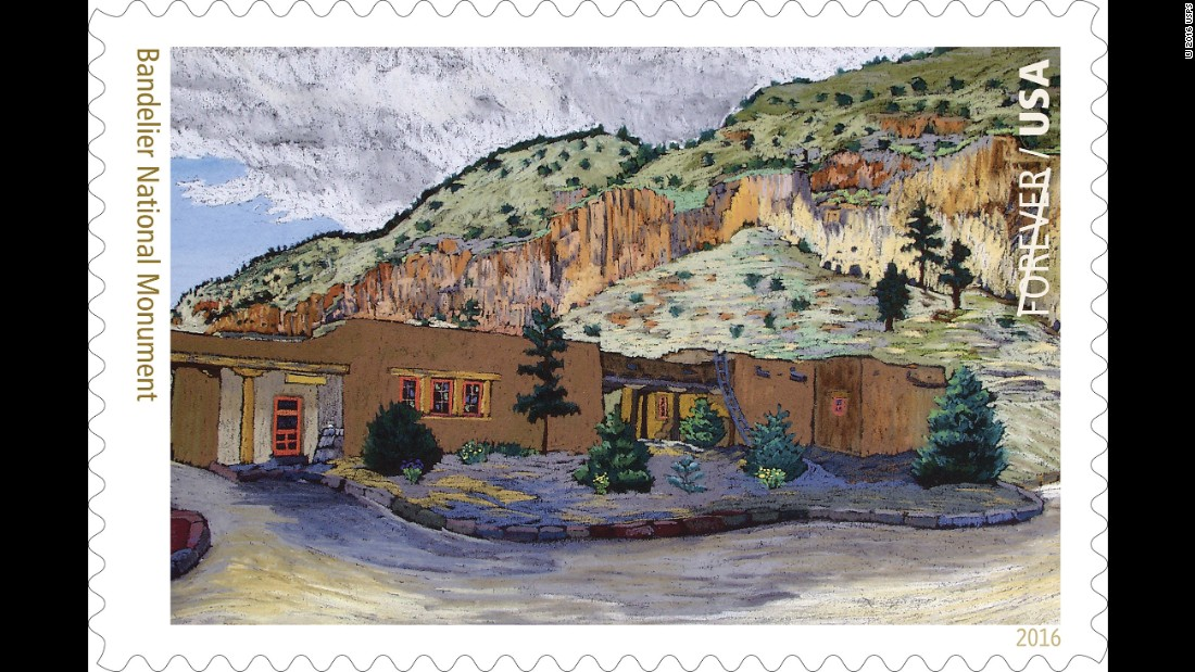 The Pueblo Revival-style visitor center at Frijoles Canyon, part of Bandelier National Monument near Los Alamos, New Mexico, is depicted in a 1930s painting by artist Helmuth Naumer Sr. The center also served as the administration building.