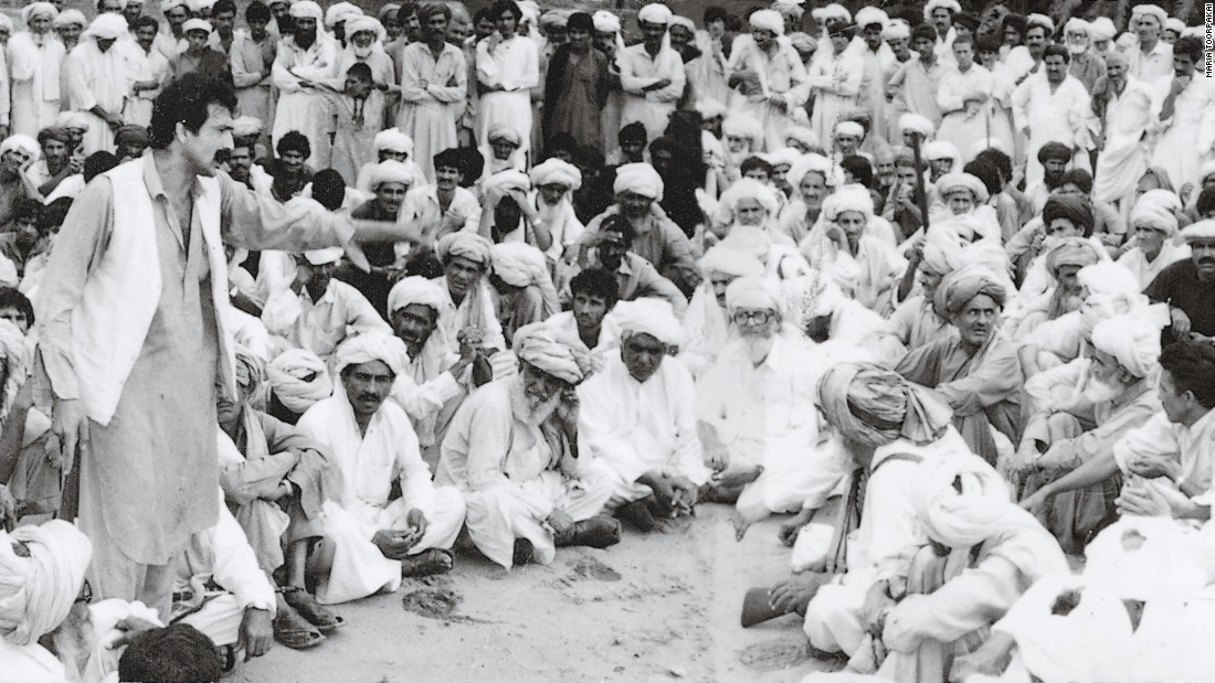 Toorpakai's father addressing a jirga (assembly of leaders), aged 25. He spoke out so often for women's rights that he was later jailed.