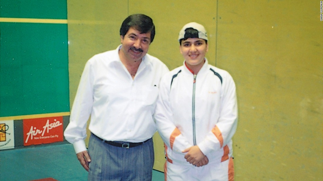Toorpakai with legendary Pakistani squash player Qamar Zaman at the 2004 Asian Games in Malaysia. It was the team's first big tournament outside the country.