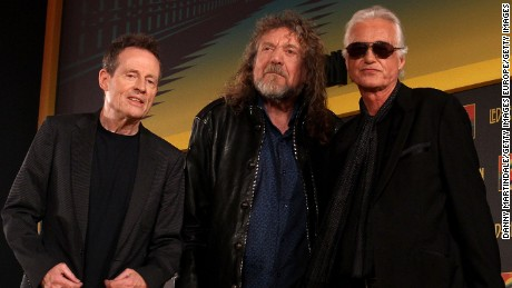 Led Zeppelin's vocalist Robert Plant (center) and guitairst Jimmy Page (right) of Led Zeppelin pictured with bassist John Paul Jones in 2012.