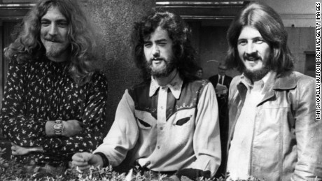 Led Zeppelin's Robert Plant, Jimmy Page and drummer John Bonham in 1970.