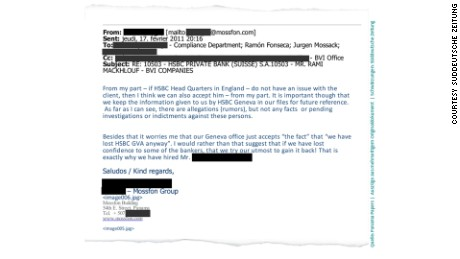An email from a Mossack Fonseca employee dated February 2011.