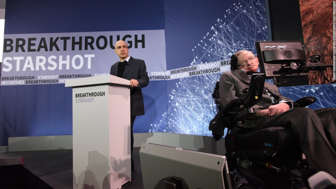 Philanthropist Yuri Milner, left, and astrophysicist Stephen Hawking host a press conference to announce Breakthrough Starshot on Tuesday, April 12, in New York City. Facebook co-founder Mark Zuckerberg also sits on the mission's board of directors.