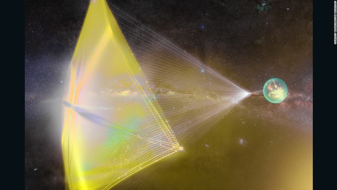"This illustration shows light beams from Earth pushing a tiny spacecraft's sail. The proposed Breakthrough Starshot project would send hundreds of ""nanocraft"" space probes 4.37 light years away -- at speeds of up to 100 million miles an hour -- to to explore Alpha Centauri, our nearest star system. The ambitious project is many years away from becoming reality."