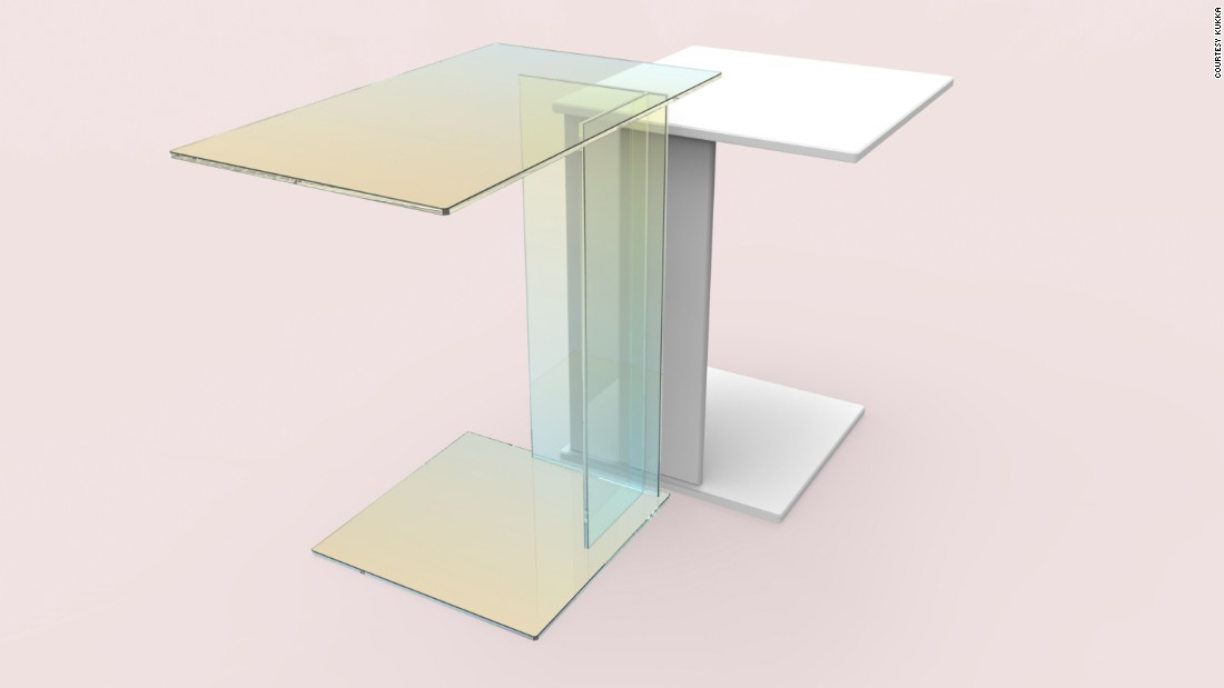 "Kukka is launching two tables, ABCD (seen here) and O, in collaboration with <a href=""http://www.caesarstone.co.uk/Pages/default.aspx"" target=""_blank"">Caesarstone</a> and <a href=""http://www.prinzoptics.de/en"" target=""_blank"">Prinz Optics GmbH</a>. The collection features reclaimed quartz slabs from the former and German-made dichroic glass from the latter. Together, the two materials create an interesting dialogue."