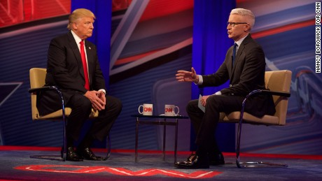 Donald Trump attends CNN's Town Hall with Anderson Cooper on Tuesday, April 12, 2016. Nancy Borowick for CNN