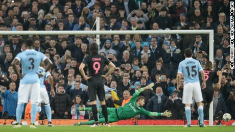 Sergio Aguero fired wide with his first-half penalty against Paris St. Germain.