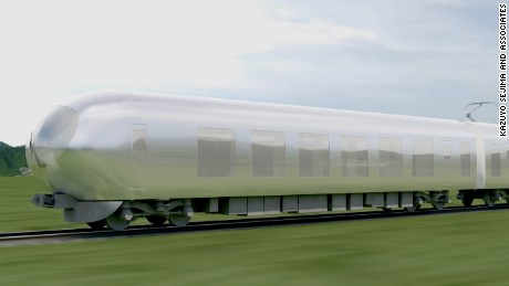 A rendering of Kazuyo Sejima's new bullet train.