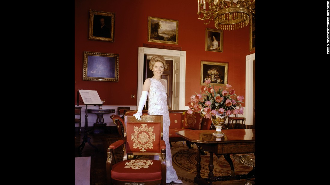 "First lady Nancy Reagan poses in the White House's Red Room in 1981. ""In 1945, Horst P. Horst photographed Harry S. Truman and struck up a friendship which was to give him unprecedented access to the White House,"" Ahern said. Horst photographed every first lady in the postwar period."