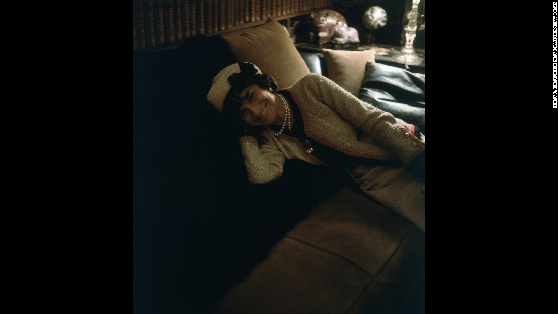 "Fashion designer Coco Chanel reclines on a sofa in her home in 1960. ""Horst first met Coco Chanel in New York in 1937 and would go on to shoot her along with her fashions for some 30 years,"" Ahern said. ""This frame, discovered in a box that had not been touched for decades, reflects a longstanding friendship --- an informal portrait of the grand dame of fashion at home and at perfect ease."""