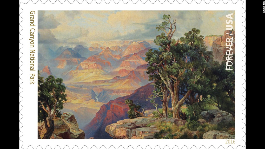 "The Grand Canyon is 277 river miles long, up to 18 miles wide and one mile deep in parts. The image on the stamp is a detail of a chromolithograph-on-canvas, ""The Grand Canyon of Arizona, from Hermit Rim Road,"" by artist Thomas Moran (1837--1926)."
