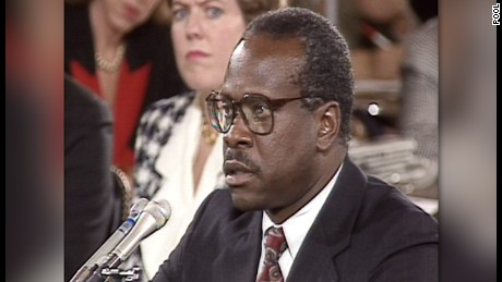 Clarence Thomas at his 1991 Supreme Court confirmation hearing.