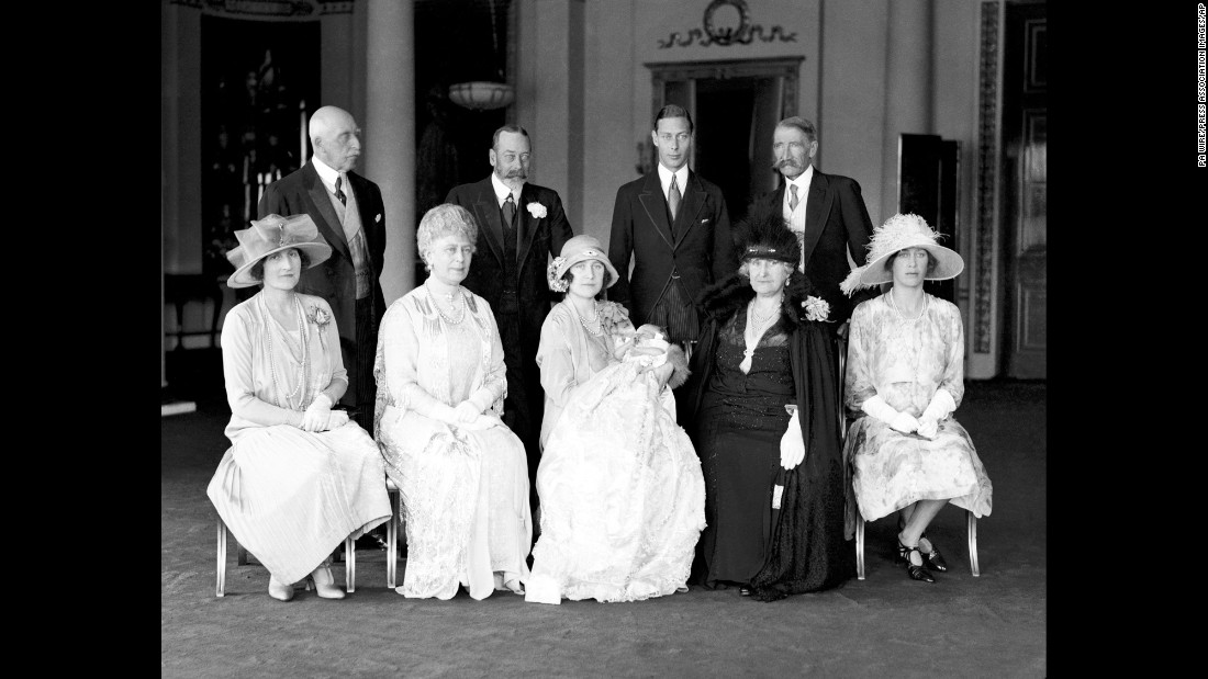 Family photo on the day of the christening of Princess Elizabeth on May 29, 1926. The Duke of Connaught, back row left, King George V, the Duke of York and the Earl of Strathmore. Lady Elphinstone, front row left, Queen Mary, the Duchess of York with Princess Elizabeth, the Countess of Strathmore and Princess Mary.