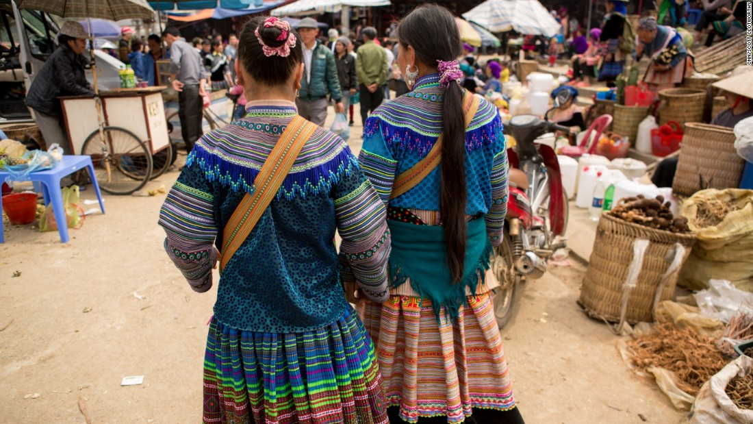 Girls at a regional market in Bac Ha, Vietnam. Outreach workers say the market is a common hunting ground for traffickers. Girls trafficked from Vietnam can be sold as brides for $3,000 or more to the end buyer.