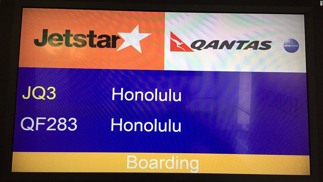This was the longest flight: eight hours, 56 minutes. Plane was a new 787 with leather, powered seats, business section and seat-back video. Jetstar has the best paid-for amenity kit. Clean, efficient flight.