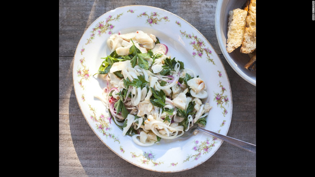 Jasper White shared his paternal grandmother Aida Padagrosi's recipe for baccala (salt cod) salad. It is one of his favorite dishes and part of an antipasti tradition Padagrosi brought with her from Rome when she emigrated. His grandmother was also the woman who inspired White to cook and become a chef.