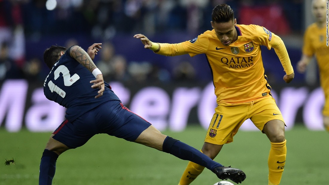 Neymar was given special attention by the Atletico defenders in a high octane start to the contest.