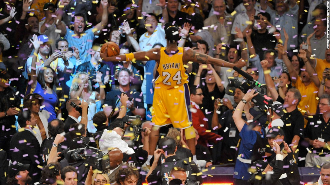 Bryant celebrates after winning the 2010 NBA Finals championship in June 2010.