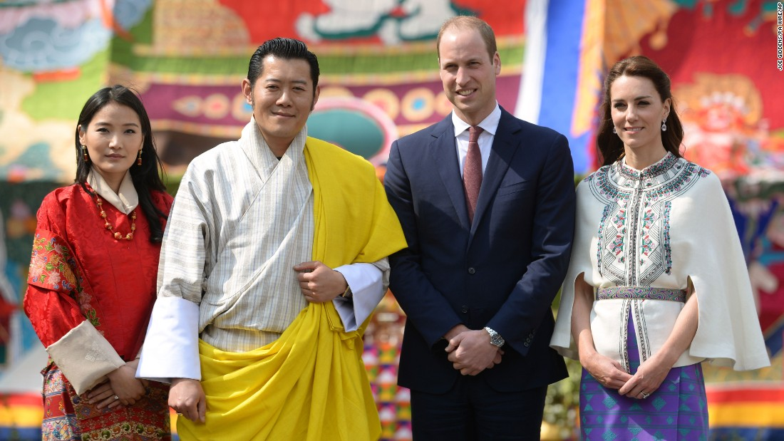 Will and Kate take a photo with Bhutanese King Jigme Khesar Namgyel Wangchuck and Queen Jetsun Pema at a Buddhist monastery in Thimphu on Thursday, April 14.