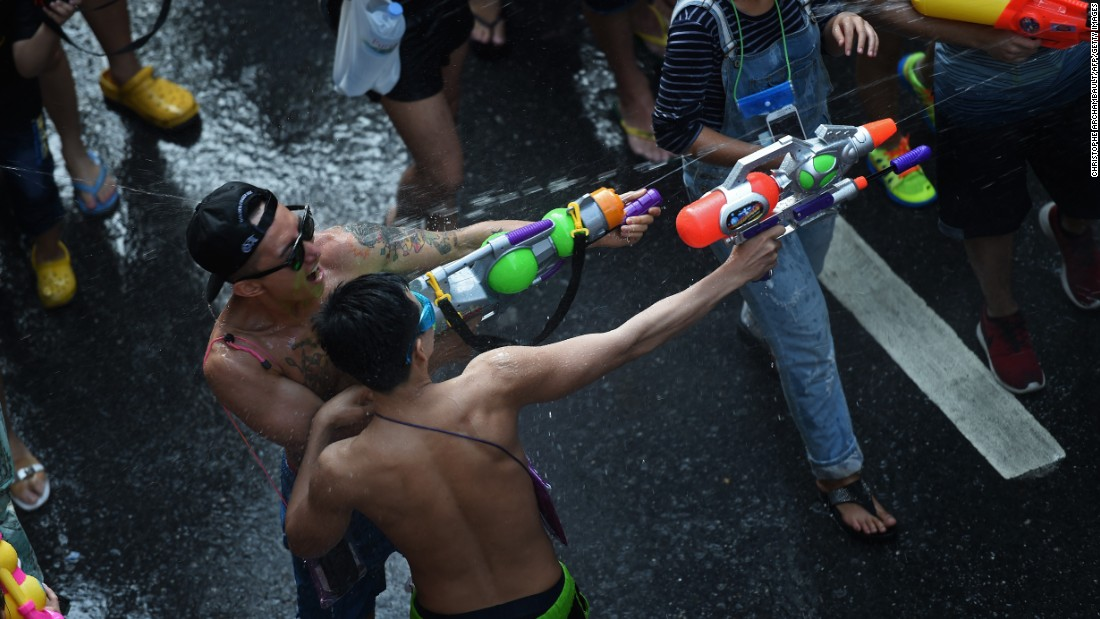 Thais and tourists alike engage in the massive water fight despite the drought gripping parts of Southeast Asia.