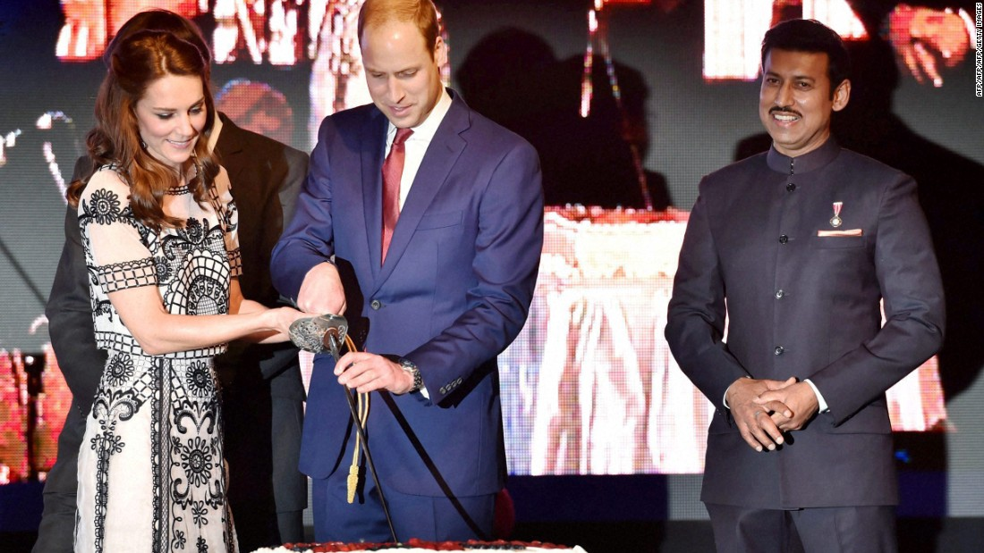 William and Catherine cut a cake during 90th birthday celebrations for Queen Elizabeth II at the residence of the British High Commissioner in New Delhi on Monday, April 11.