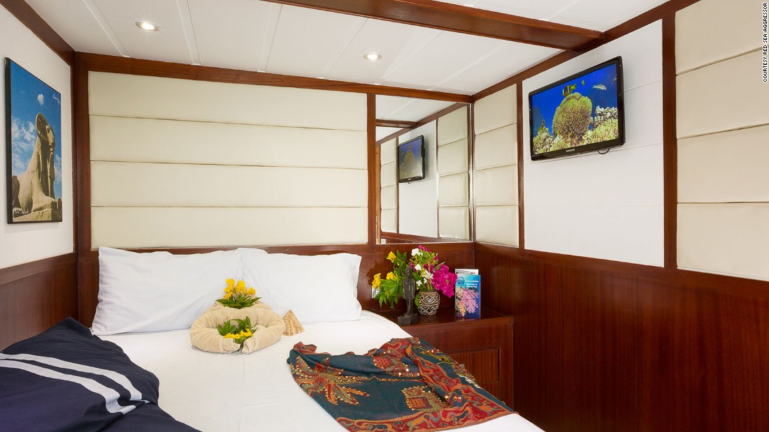Each cabin on the Red Sea Aggressor has a flat-screen TV with a selection of 400 movies and TV shows.