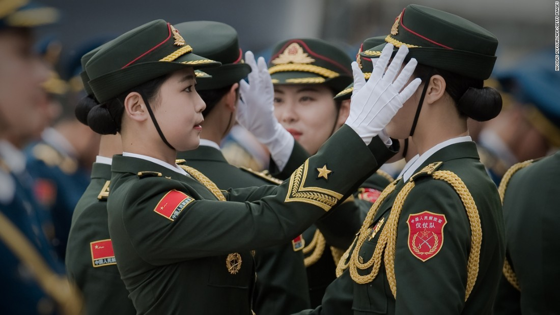 Members of a military honor guard in Beijing prepare to welcome Australian Prime Minister Malcolm Turnbull on Thursday, April 14.