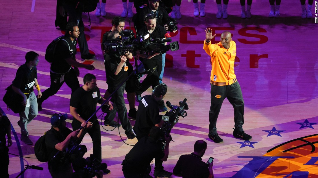 "NBA star Kobe Bryant waves to the crowd in Los Angeles before playing the final game of his 20-year career on Wednesday, April 13. Bryant, the third-leading scorer in NBA history, <a href=""http://www.cnn.com/2016/04/13/sport/kobe-bryant-final-game/"" target=""_blank"">finished the game with 60 points</a> and rallied the Lakers to a comeback victory against Utah."