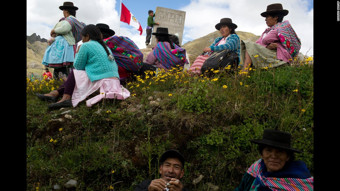 Villagers wait for a polling station to open in Uchuraccay, Peru, on Sunday, April 10.