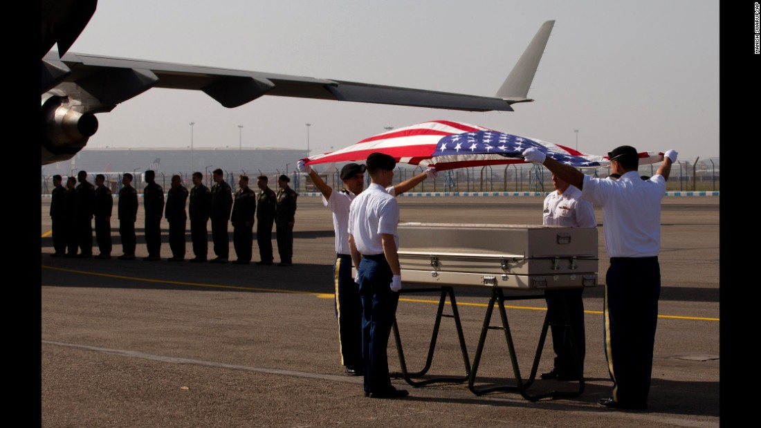 On Wednesday, April 13, U.S. military members in New Delhi pay final respects to what they believe are the remains of one or two crew members who crashed in a B-24 bomber during World War II. The plane was flying over the Himalayas when it went missing in 1944.