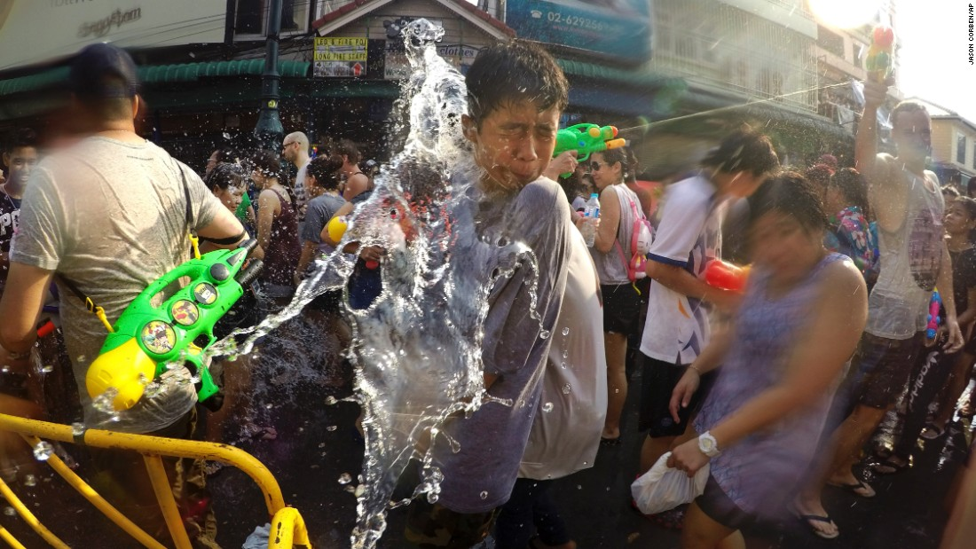 Revelers douse each other with water during the Songkran festival in Bangkok, Thailand, on Wednesday, April 13.