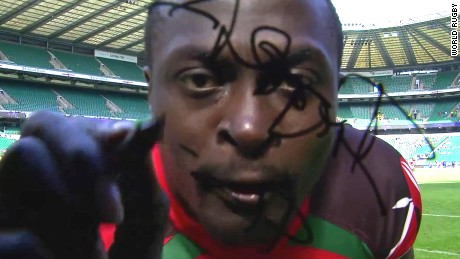 Collins Injera: Kenya rugby star recreates infamous camera incident
