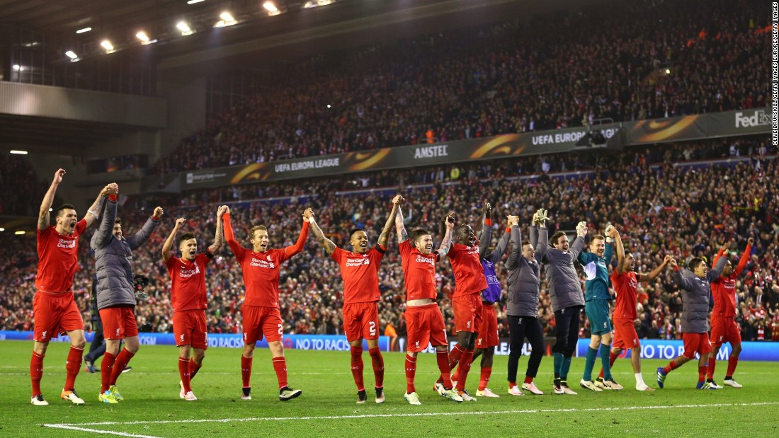 Liverpool players celebrate victory after the remarkable Europa League quarterfinal second leg match against Borussia Dortmund at Anfield. The Reds triumphed 4-3 on the night having trailed by two goals, and will now play Villarreal in the semifinal.