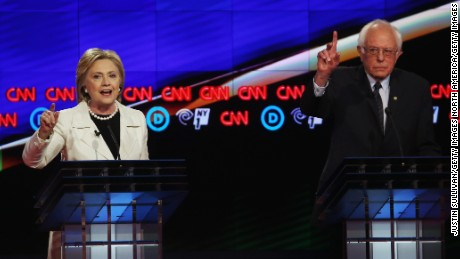 NEW YORK, NY - APRIL 14:  Democratic Presidential candidates Hillary Clinton and Sen. Bernie Sanders (D-VT) debate during the CNN Democratic Presidential Primary Debate at the Duggal Greenhouse in the Brooklyn Navy Yard on April 14, 2016 in New York City. The candidates are debating ahead of the New York primary to be held April 19.  (Photo by Justin Sullivan/Getty Images)