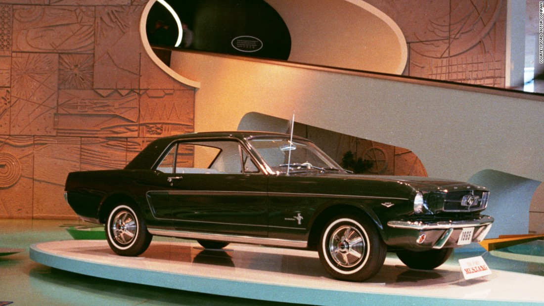 The 1965 Ford Mustang was officially revealed at New York World's Fair in Flushing, New York, on April 17, 1964. Standard equipment for the car included carpet, bucket seats and a 170-cubic-inch, six-cylinder engine that was coupled with a three-speed floor-shift transmission.