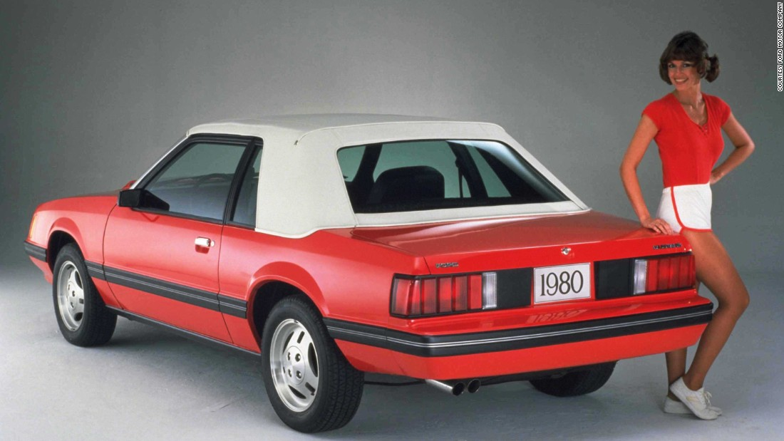 "In 1979, the third generation debuted with a sleek ""Euro"" design. It was longer and taller -- yet 200 pounds lighter -- than the outgoing Mustang II."