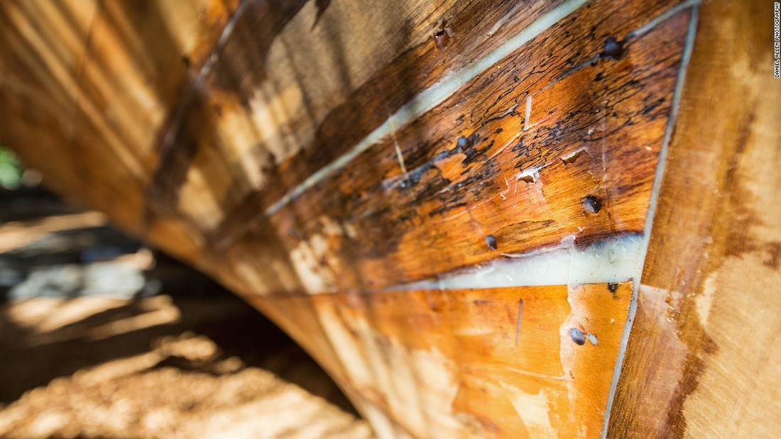 "The last step in long-tail construction is caulking, which makes the seams watertight. ""This is usually done by soaking cotton string in the resin of the breadfruit tree and then driving it into the seams,"" explains Chulabhong Srisawasdi. ""The boat is then varnished or painted and it's ready to take to the water."""