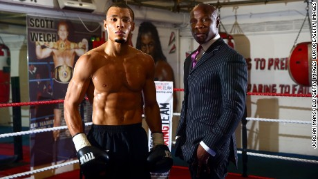 Chris Eubank Jr. with his former world champion father, Chris Eubank Sr.