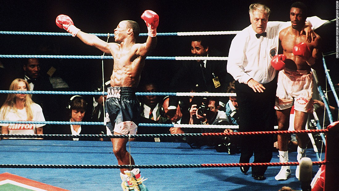 Chris Eubank Sr. celebrates his victory against Michael Watson for the WBO Middleweight title fight in 1991.