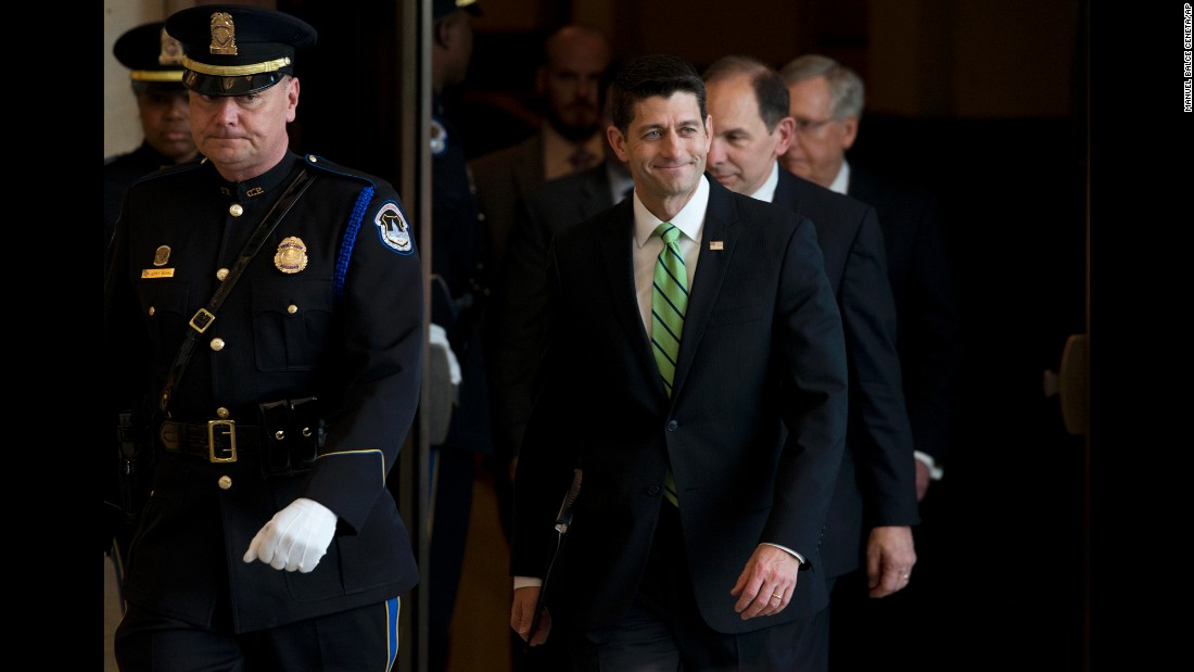 "House Speaker Paul Ryan arrives for a ceremony in Washington on Wednesday, April 13. The day before, <a href=""http://www.cnn.com/2016/04/12/politics/paul-ryan-to-rule-out-presidential-bid/"" target=""_blank"">he said he would not want to be considered</a> as a late entrant for President. ""I believe you should only choose from a person who has actually participated in the primary,"" he said. ""Count me out."""