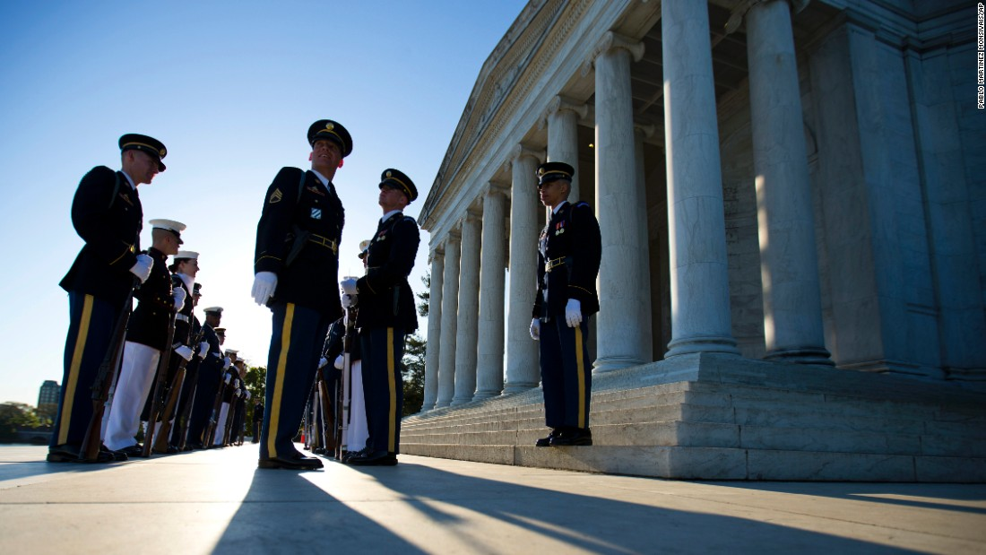 Members of the U.S. armed forces line up before a wreath-laying ceremony at the Jefferson Memorial on Wednesday, April 13. Former President Thomas Jefferson was born on April 13, 1743.