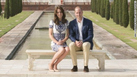 Prince William, Duke of Cambridge and Catherine, Duchess of Cambridge sit in front of the Taj Mahal during day seven of the royal tour of India and Bhutan on Saturday, April 16, in Agra, India. Princes Diana was photographed in thes same spot in a famous photo from 1992. This is the last engagement of the Royal couple after a week long visit to India and Bhutan that has taken them in cities such as Mumbai, Delhi, Kaziranga, Thimphu and Agra.