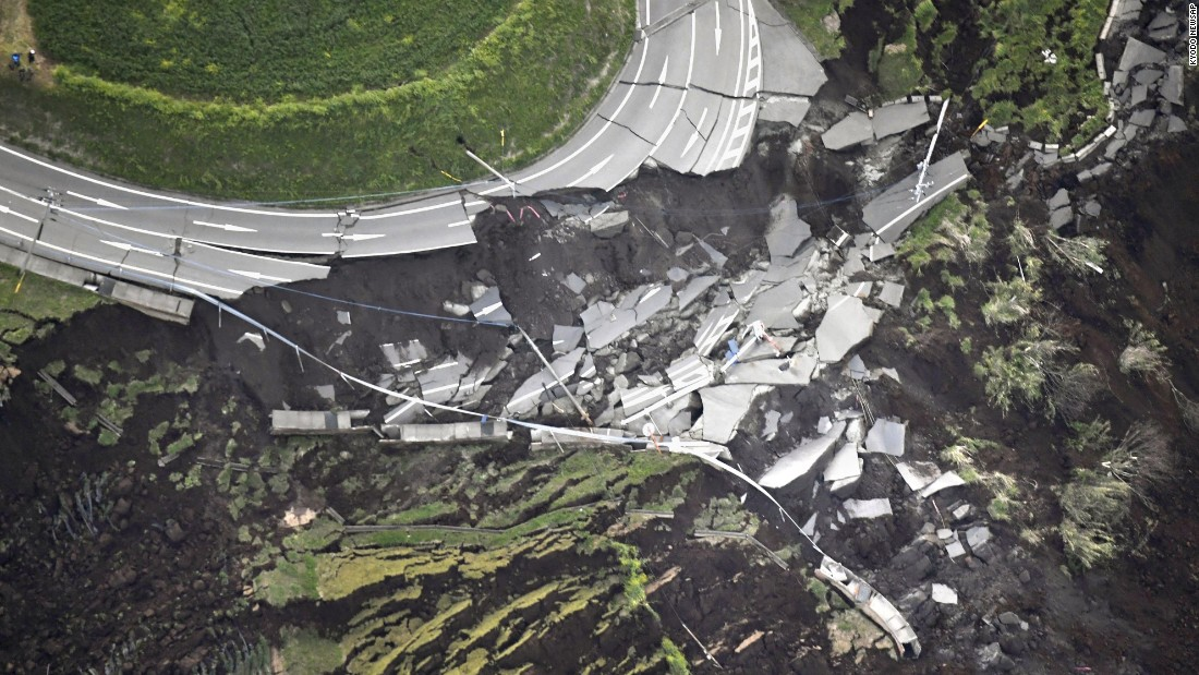 The tremors appear to have caused extensive damage, overturning cars, splitting roads and triggering a landslide, as shown by  CNN affiliate TV Asahi footage.