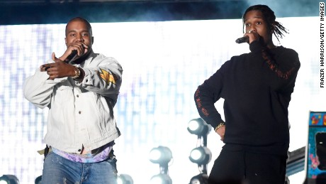 Hip-hop artist Kanye West and rapper A$AP Rocky perform onstage during day 1 of the 2016 Coachella Valley Music & Arts Festival Weekend 1 on April 15, 2016 in Indio, California.
