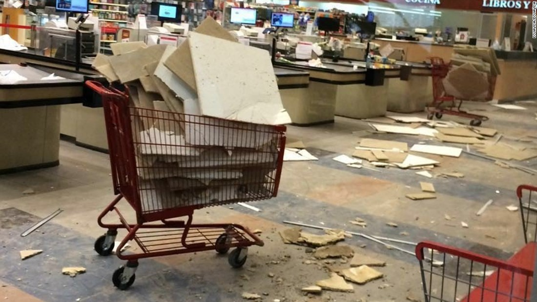 Damage is seen inside a store in Guayaquil on April 16.