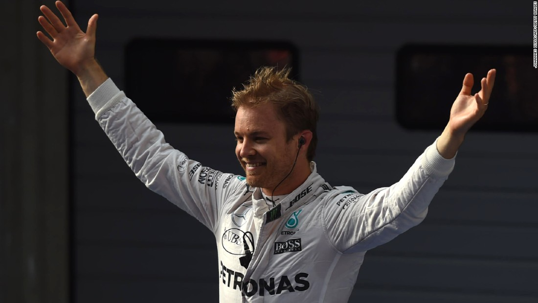 Nico Rosberg celebrates after winning the Chinese Grand Prix in Shanghai for Mercedes.