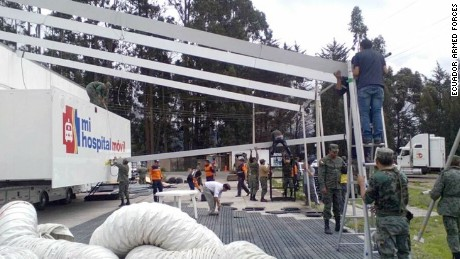 The Ecuadorean Armed Forces released the images below showing emergency teams building mobile hospitals in some of the hardest hit areas by the earthquake that rocked Ecuador Sunday.