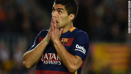 Barcelona's Uruguayan forward Luis Suarez looks on in disbelief as his side slips to a 2-1 defeat to Valencia.