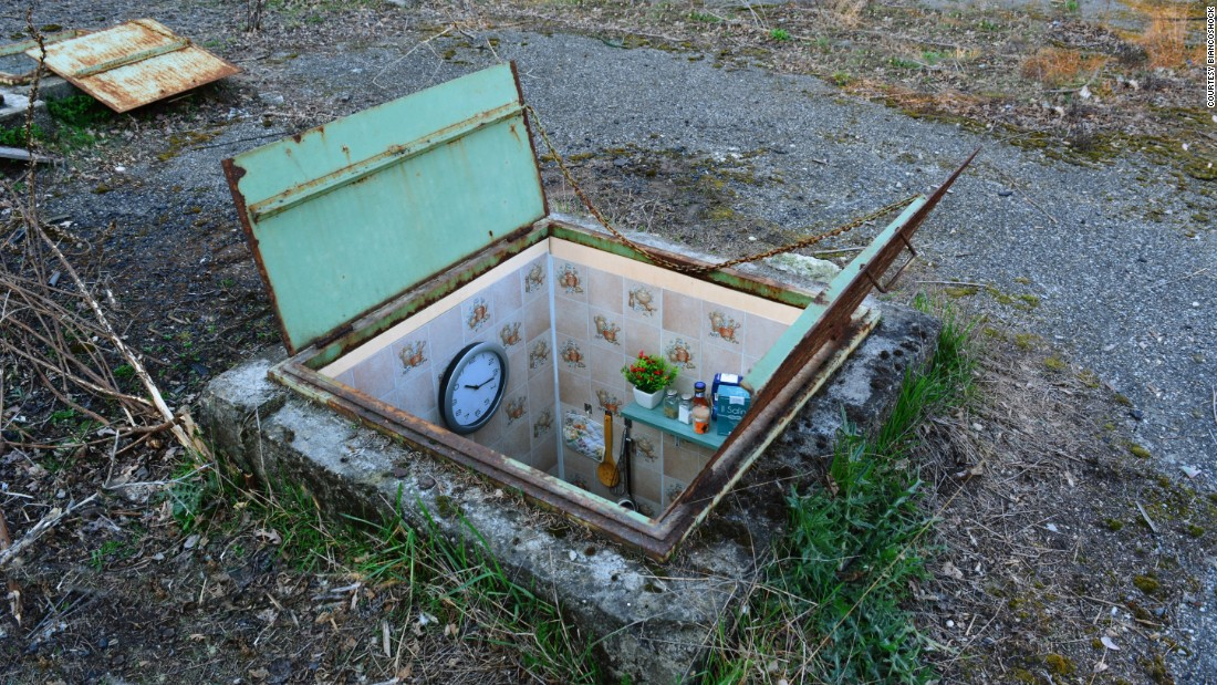 This particular installation converts manholes into tiny rooms, spotlighting the living standards of people in certain countries around the world.